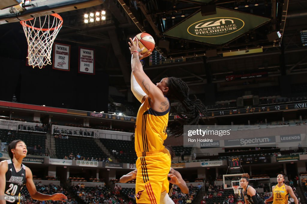 Erlana Larkins #2 of the Indiana Fever shoots the ball against the San Antonio Stars on September 2, 2017 at Bankers Life Fieldhouse in Indianapolis, Indiana.