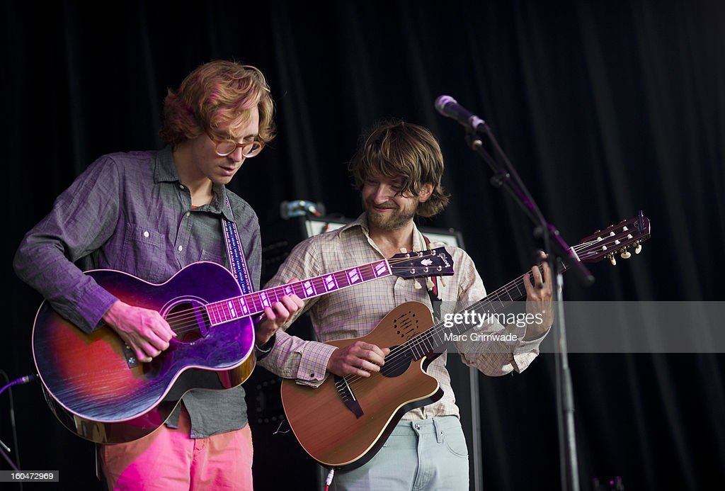 Erlend Oye and Eirik Glambet Boe from the band Kings of Convenience perform for fans at St Jerome's Laneway Festival 2013 at the RNA Showgrounds on February 1, 2013 in Brisbane, Australia.
