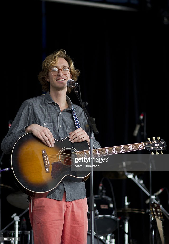 Erlend Oye from the band Kings of Convenience performs for fans at St Jerome's Laneway Festival 2013 at the RNA Showgrounds on February 1, 2013 in Brisbane, Australia.