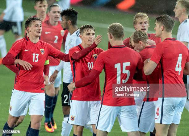 Erlend Reitan Martin Odegaard Henrik Bjordal Morten Thorsby Kristoffer Ajer of Norway during the U21 FIFA 2018 World Cup Qualifier between Norway and...