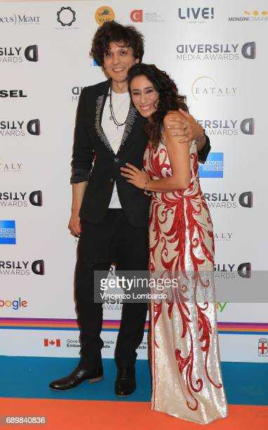 Ermal Meta and Francesca Vecchioni attend Diversity Media Awards Charity Gala Dinner on May 29 2017 in Milan Italy