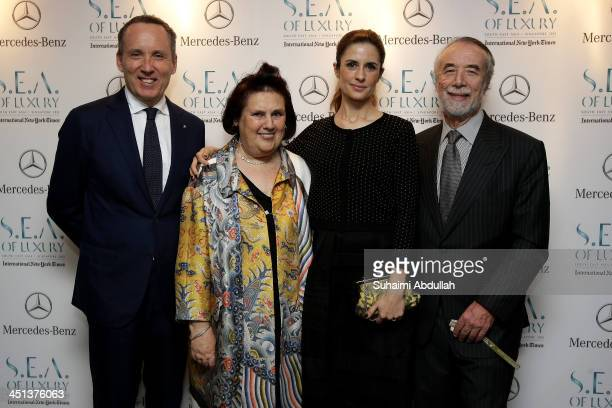 Ermenegildo Zegna Suzy Menkes Olivia Firth and Dominico De Sole arrive at the Flower Dome on November 20 2013 in Singapore The 13th annual...