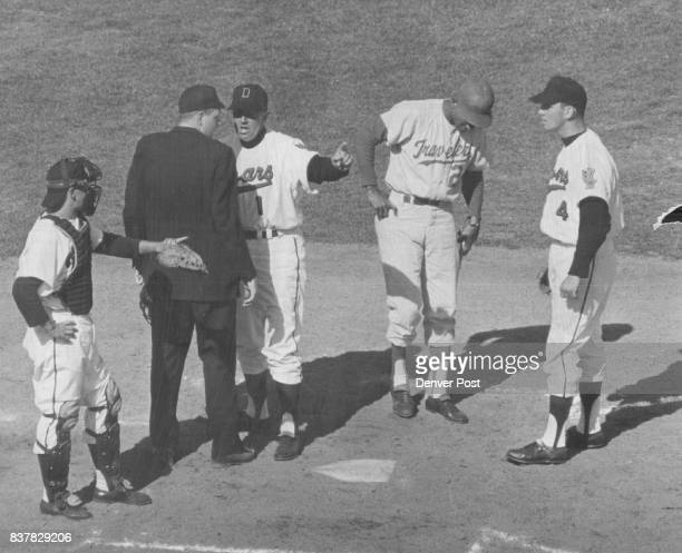 Ermer Scores A Victory over Umpire Here's a new one Denver Bears Manager Cal Ermer is in the process of winning an argument with umpire Bob Thompson...
