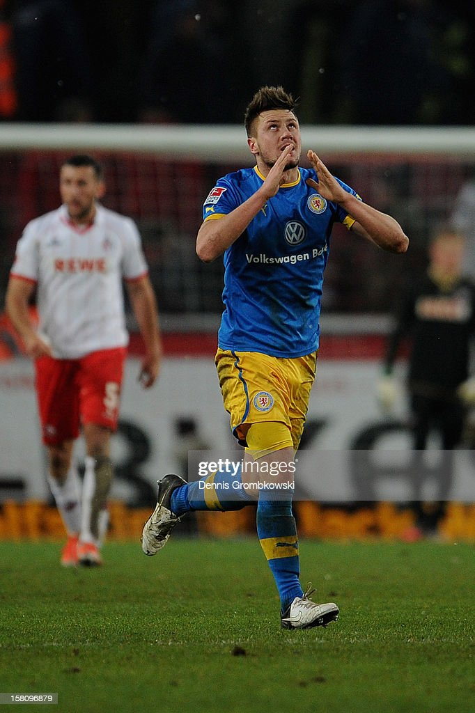 Ermin Bicakcic of Braunschweig celebrates after scoring his team's second goal during the Bundesliga match between 1. FC Koeln and Eintracht Braunschweig at RheinEnergieStadion on December 10, 2012 in Cologne, Germany.
