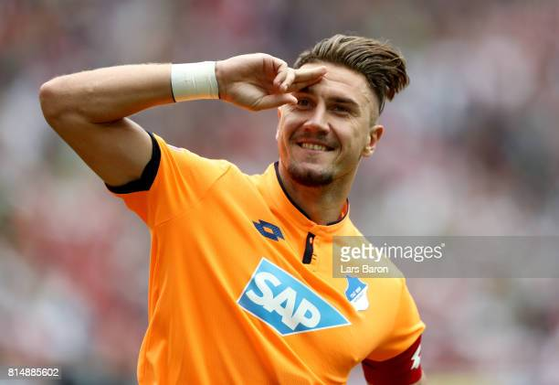 Ermin Bicakcic of Hoffenheim celebrates after winning the Telekom Cup 2017 3rd place match between Borussia Moenchengladbach and TSG Hoffenheim at...