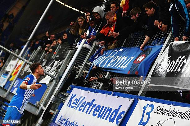 Ermin Bicakcic of Hoffenheim discusses with the fans after the Bundesliga match between 1899 Hoffenheim and SV Darmstadt 98 at Wirsol...