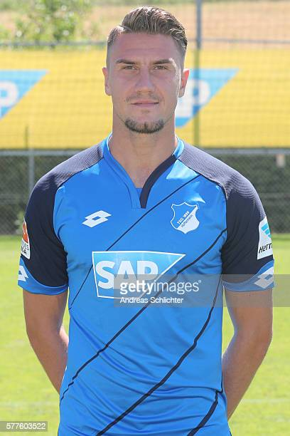 Ermin Bicakcic poses during the offical team presentation of TSG 1899 Hoffenheim on July 19 2016 in Sinsheim Germany