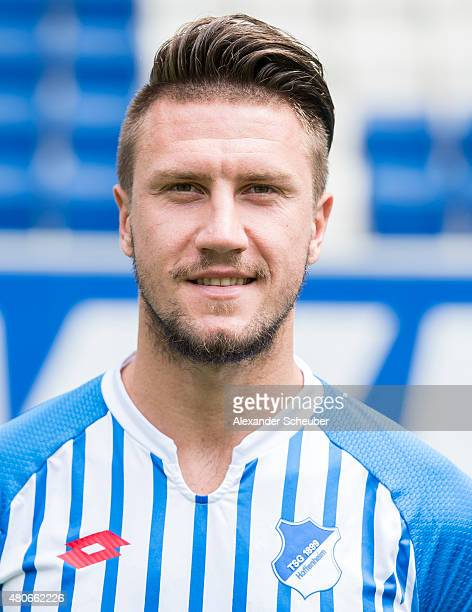 Ermin Bicakcic poses during the team presentation of 1899 Hoffenheim at Wirsol RheinNeckarArena on July 14 2015 in Sinsheim Germany
