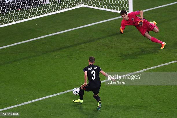 Ermir Lenjani of Albania misses a chance during the UEFA EURO 2016 Group A match between Romania and Albania at Stade des Lumieres on June 19 2016 in...