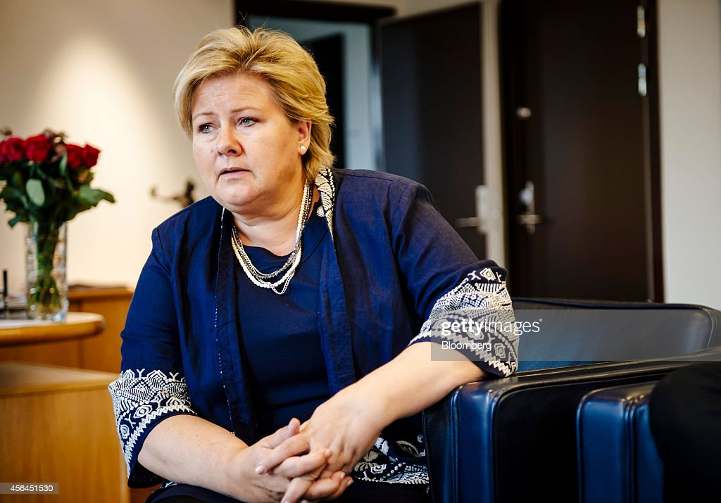 <a gi-track='captionPersonalityLinkClicked' href=/galleries/search?phrase=Erna+Solberg&family=editorial&specificpeople=6165203 ng-click='$event.stopPropagation()'>Erna Solberg</a>, Norway's prime minister, pauses as she speaks during an interview at her office in Oslo, Norway, on Wednesday, Oct. 1, 2014. Europe shouldnt fear the economic fallout of deteriorating ties with Russian President Vladimir Putin, Solberg said. Photographer: Kristian Helgesen/Bloomberg via Getty Images