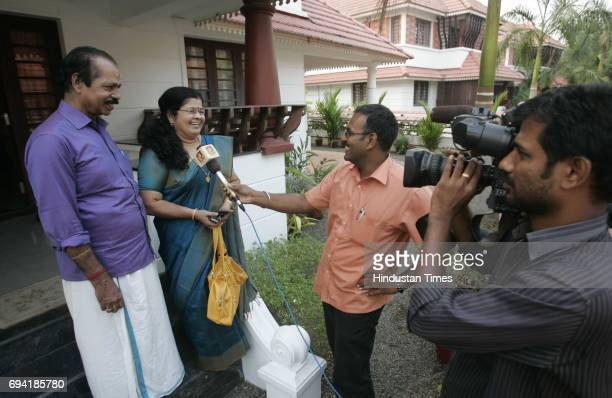 Ernakulam 8th February 2011 Sreesanth's mother Savithri Devi and father Santhakumaran Nair giving interview to local television channel after his...
