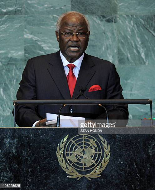 Ernest Bai Koroma President of Sierra Leone speaks during the United Nations General Assembly September 23 2011 at UN headquarters in New York AFP...