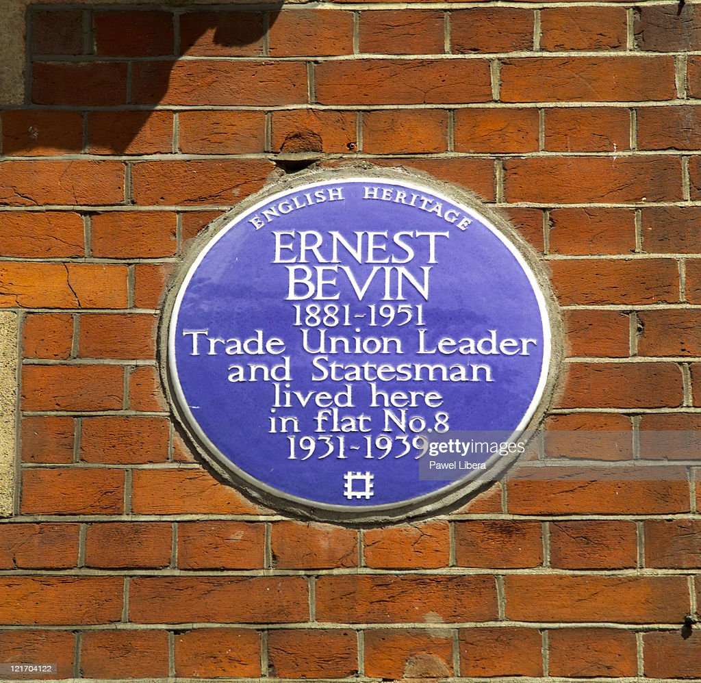 Ernest Bevin Blue Wall Plaque in Oxford Street, West End, London, UK : Stock Photo