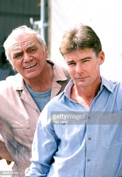 Ernest Borgnine plays Dominic Santini in Airwolf with co star Jan Michael Vincent May 6 1985 at Van Nuys Airport Los Angeles California