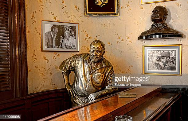 Ernest Hemingway Statue At His Favorite Bar Called Floridita In Central Havana Cuba