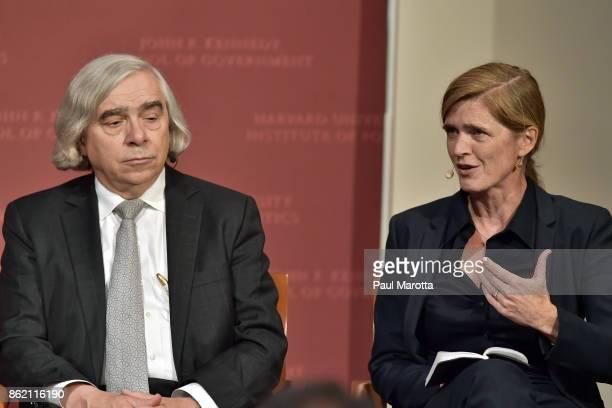 Ernest Moniz and Samantha Power speak at the Harvard University John F Kennedy Jr Forum in a program titled 'Perspectives on National Security'...