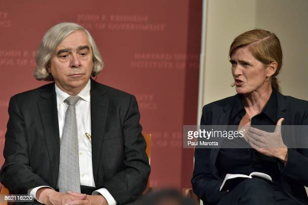 Ernest Moniz and Samantha Power speak at the Harvard University John F Kennedy Jr Forum in a program titled 'Perspectives on National Security'...