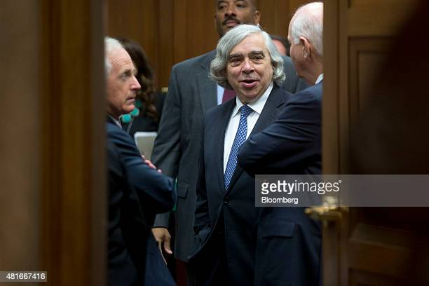 Ernest Moniz US secretary of energy center talks to Senator Bob Corker a Republican from Tennessee and chairman of the Senate Foreign Relations...