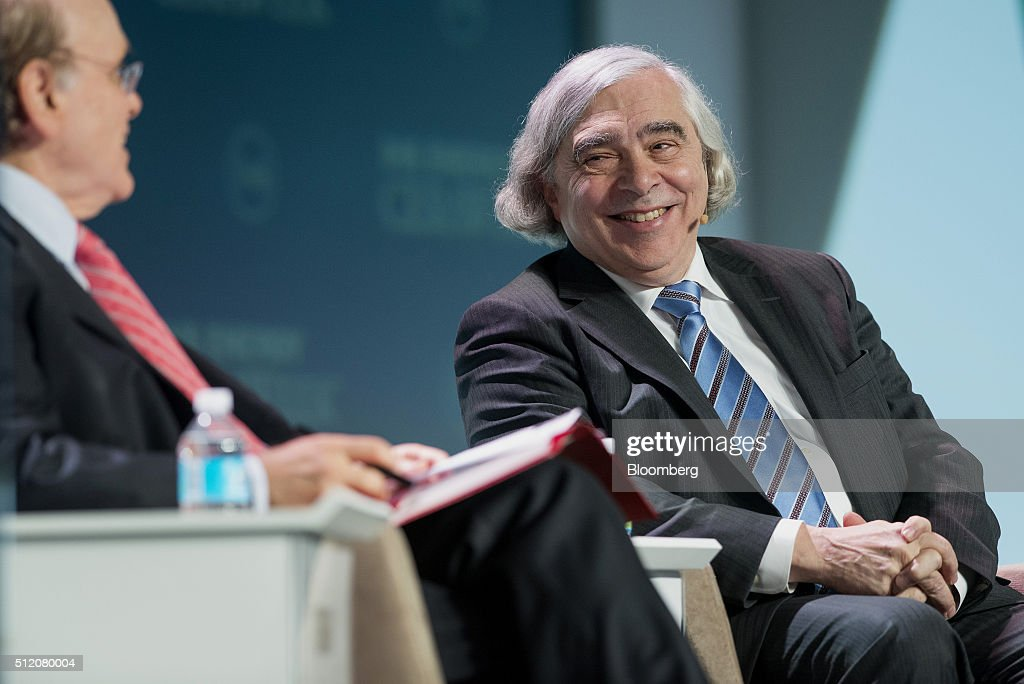 <a gi-track='captionPersonalityLinkClicked' href=/galleries/search?phrase=Ernest+Moniz&family=editorial&specificpeople=7551550 ng-click='$event.stopPropagation()'>Ernest Moniz</a>, U.S. secretary of energy, smiles as Daniel Yergin, vice chairman of IHS Cambridge Energy Research Associates Inc., speaks during the 2016 IHS CERAWeek conference in Houston, Texas, U.S., on Wednesday, Feb. 24, 2016. CERAWeek, in its 35th year, will provide new insights and critically-important dialogue with energy industry leaders, experts, government officials and policymakers, and leaders from the technology, financial and industrial communities. Photographer: Matthew Busch/Bloomberg via Getty Images