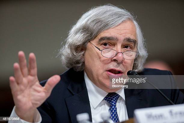 Ernest Moniz US secretary of energy speaks during a Senate Foreign Relations Committee hearing in Washington DC US on Thursday July 23 2015 Senator...
