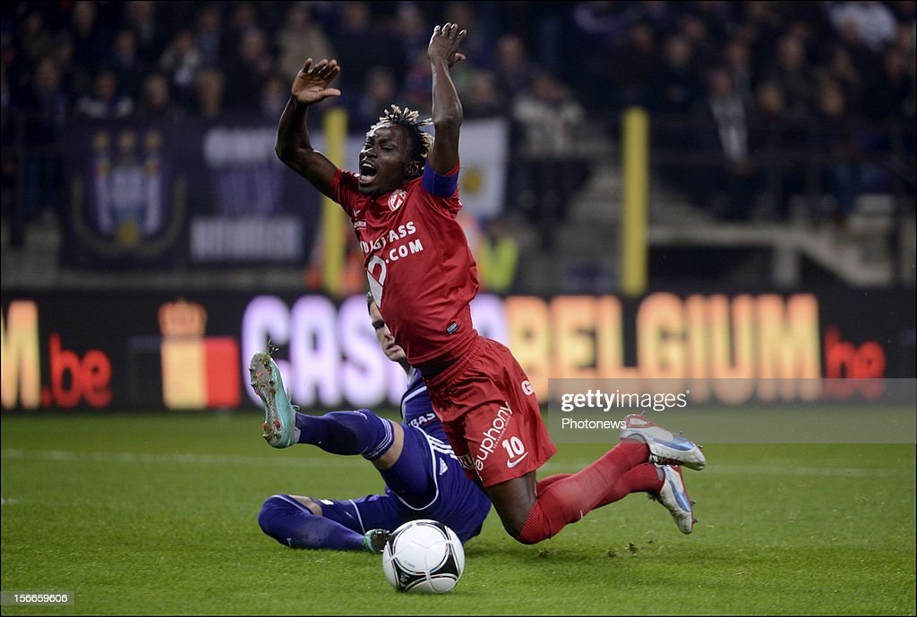 Ernest N'For of Kortrijk in action during the Jupiler League match between RSC Anderlecht and KV Kortrijk on November 18, 2012 in Anderlecht, Belgium.