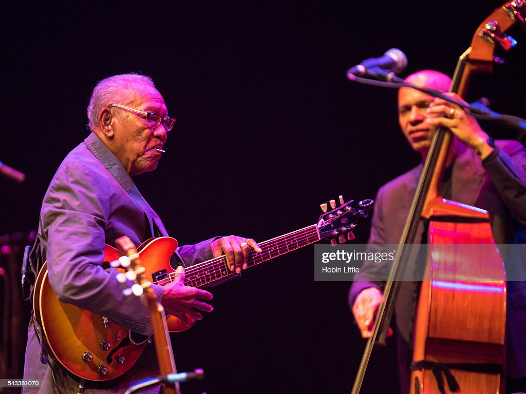Ernest Ranglin and Ira Coleman perform at Barbican Centre on June 27, 2016 in London, England.