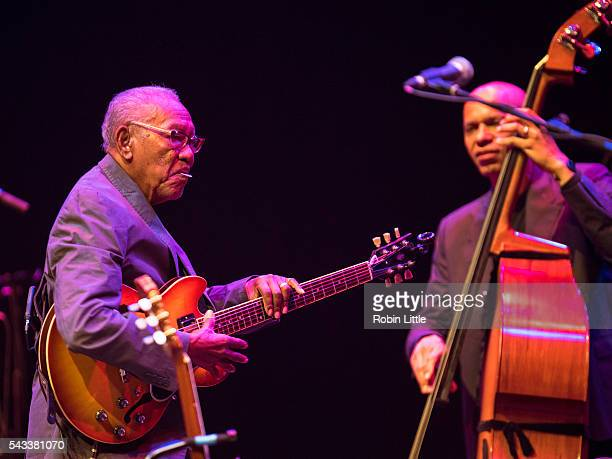 Ernest Ranglin and Ira Coleman perform at Barbican Centre on June 27 2016 in London England
