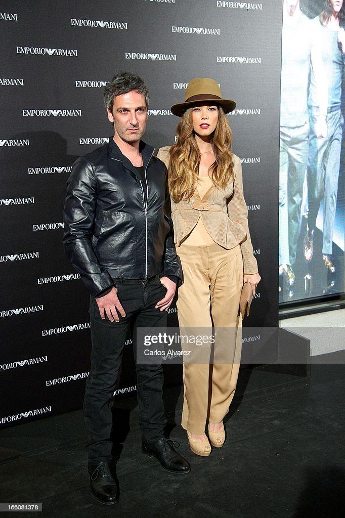 Ernesto Alterio and Juana Acosta attend the Emporio Armani Boutique opening on April 8, 2013 in Madrid, Spain.