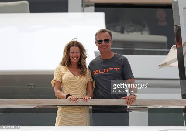 Ernesto Bertarelli and his wife Kirsty on their superyacht The Vava II that is docked in Boston on Aug 2 2017