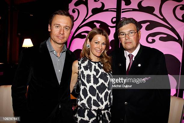 Ernesto Bertarelli Kirsty Bertarelli and Michel Pastor attend the De Grisogono Jewellery new collection party on February 17 2011 in Gstaad...