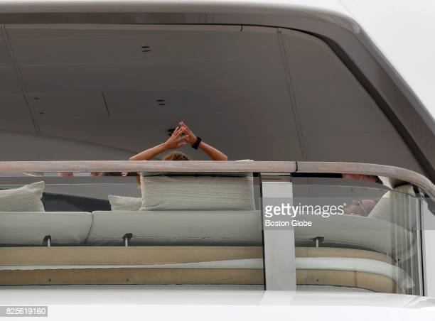Ernesto Bertarelli resting and his wife Kirsty arms up on their superyacht The Vava II that is docked in Boston on Aug 2 2017