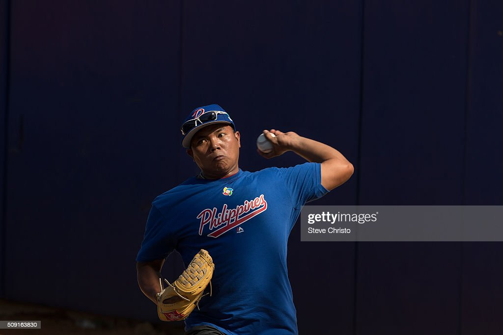 Ernesto Binarao #16 of Team Philippines throws in the bullpen during the workout for the World Baseball Classic Qualifier at Blacktown International Sportspark on Tuesday, February 9, 2016 in Sydney, Australia. (Photo by Steve Christo/WBCI/MLB Photos via Getty Images) Ernesto Binarao