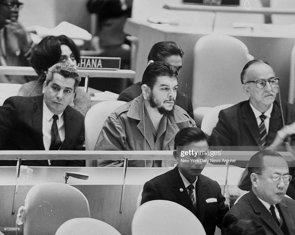 Ernesto Che Guevara Cuban Minister of Industry listens to proceedings with head set at the United Nations