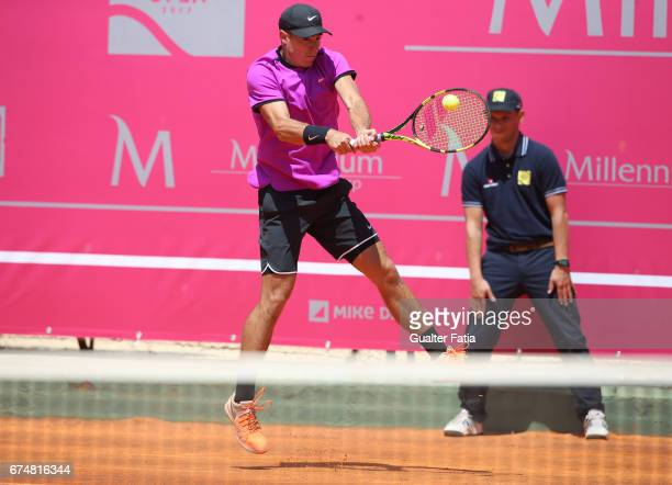 Ernesto Escobedo in action during the match between Ernesto Escobedo from USA and Nicolas Jarry from Chile for Millennium Estoril Open at Clube de...
