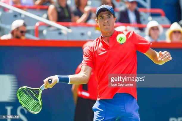 Ernesto Escobedo returns the ball and makes eye contact with it during his first round match at ATP Coupe Rogers on August 8 at Uniprix Stadium in...