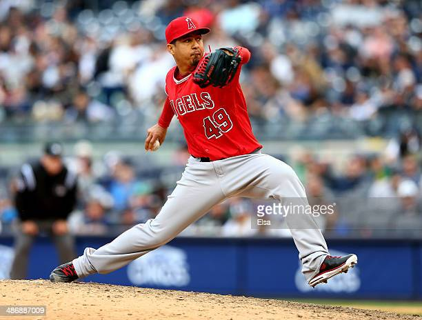 Ernesto Frieri of the Los Angeles Angels of Anaheim delivers a pitch in the eighth inning against the New York Yankees on April 26 2014 at Yankee...