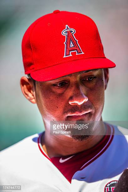 Ernesto Frieri of the Los Angeles Angels of Anaheim does a postgame interview after closing the game against the Minnesota Twins on Wednesday July 24...