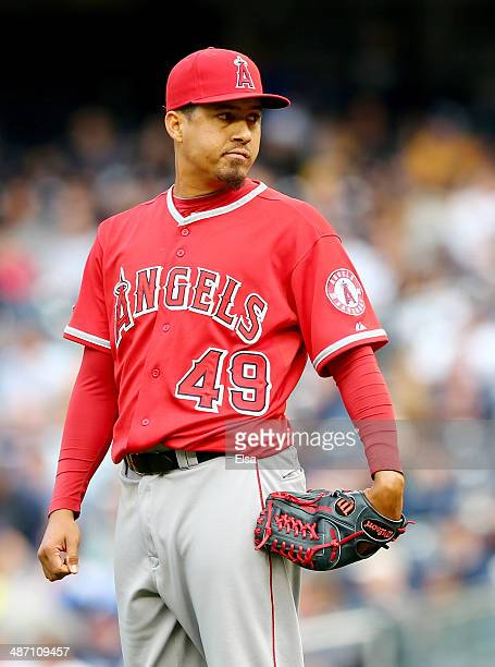 Ernesto Frieri of the Los Angeles Angels of Anaheim looks for the sign from the catcher in the eighth inning against the New York Yankees on April 26...