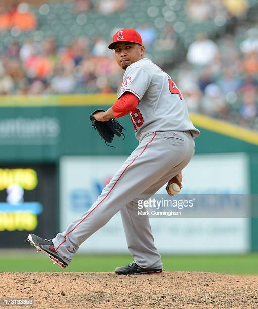 Ernesto Frieri of the Los Angeles Angels of Anaheim pitches against the Detroit Tigers at Comerica Park on June 27 2013 in Detroit Michigan The...