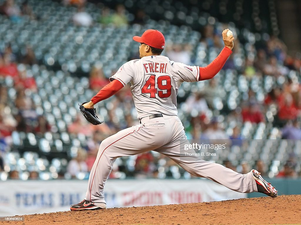 Ernesto Frieri #49 of the Los Angeles Angels of Anaheim pitches against the Houston Astros in the ninth inning on September 15, 2013 at Minute Maid Park in Houston, Texas.