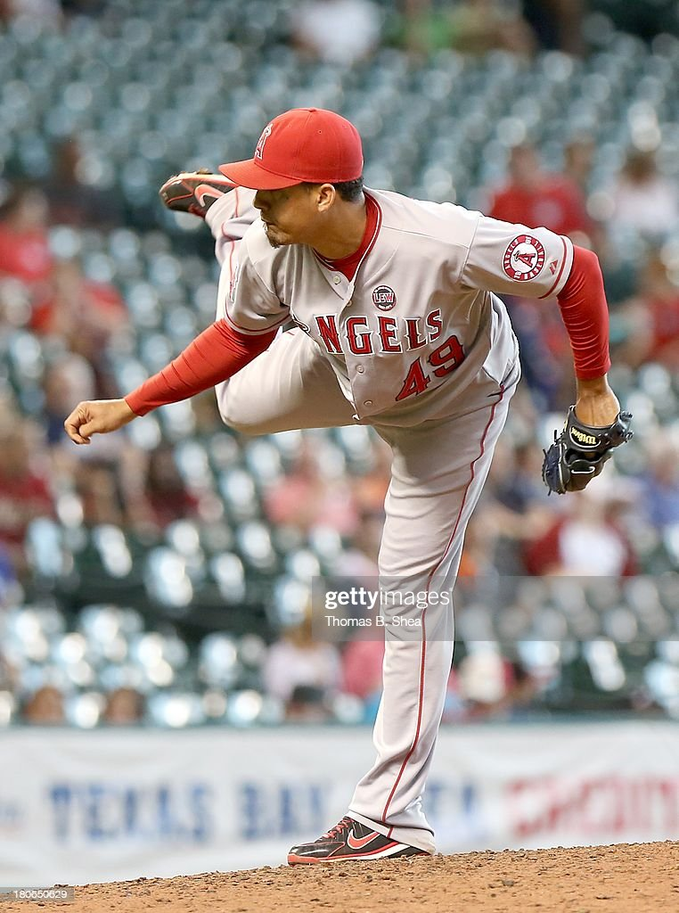 Ernesto Frieri #49 of the Los Angeles Angels of Anaheim pitches against the Houston Astros in the eighth inning on September 15, 2013 at Minute Maid Park in Houston, Texas.