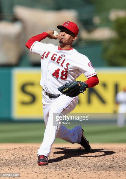 Ernesto Frieri of the Los Angeles Angels of Anaheim pitches against the Oakland Athletics at Angel Stadium of Anaheim on September 25 2013 in Anaheim...
