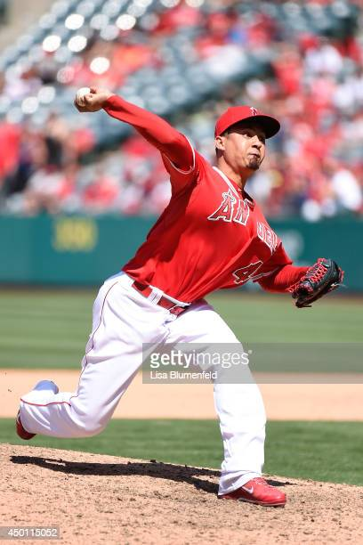 Ernesto Frieri of the Los Angeles Angels of Anaheim pitches against the Kansas City Royals at Angel Stadium of Anaheim on May 25 2014 in Anaheim...