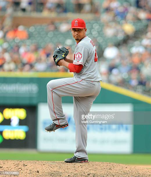Ernesto Frieri of the Los Angeles Angels of Anaheim pitches during the game against the Detroit Tigers at Comerica Park on June 27 2013 in Detroit...