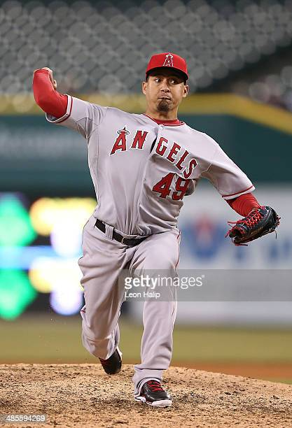 Ernesto Frieri of the Los Angeles Angels of Anaheim pitches in the ninth inning of the game against the Detroit Tigers at Comerica Park on April 18...