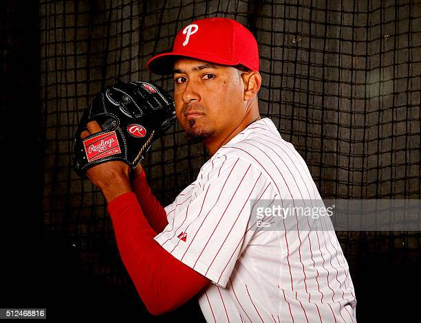Ernesto Frieri of the Philadelphia Phillies poses for a portrait on February 26 2016 at Bright House Field in Clearwater Florida