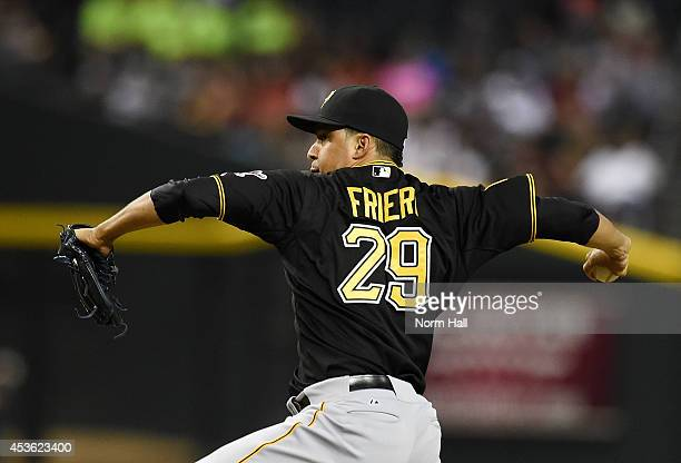 Ernesto Frieri of the Pittsburgh Pirates delivers a pitch against the Arizona Diamondbacks at Chase Field on August 1 2014 in Phoenix Arizona
