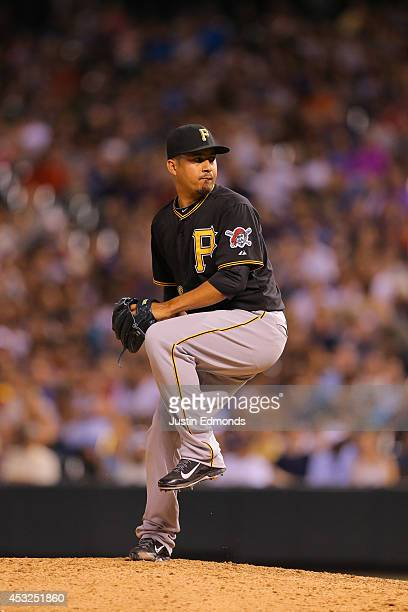 Ernesto Frieri of the Pittsburgh Pirates pitches against the Colorado Rockies at Coors Field on July 25 2014 in Denver Colorado
