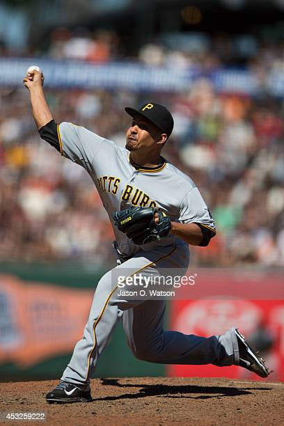 Ernesto Frieri of the Pittsburgh Pirates pitches against the San Francisco Giants during the eighth inning at ATT Park on July 30 2014 in San...