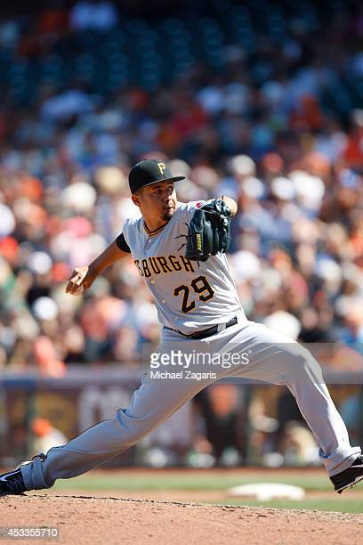 Ernesto Frieri of the Pittsburgh Pirates pitches during the game against the San Francisco Giants at ATT Park on July 30 2014 in San Francisco...